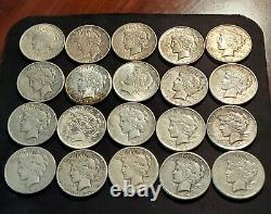 ROLL 20 coin Lot VG-XF 1922-1926 Peace Dollars 90% Silver, various mint marks