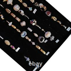 Ring Lot of 65 New Silver, Gold, & Costume, Most Marked Signed Stamped with Holder