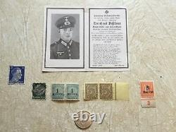 SILVER 2 Mark 1938 MINT B WW2 German Soldier Death Card 1943 HITLER STAMP