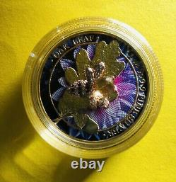Silver Coin. 999 AG 2019 Germany 5 Mark Oak Leaf Bejeweled Bee Only 500 Minted