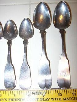 Vintage Lot Of 10 Spoons Silverware Marked W. Bailey